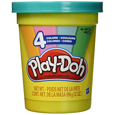 Play-Doh 2-Lb. Bulk Super Can of Non-Toxic Modeling Compound with 4 Modern Colors - Light Blue, Green, Orange, & Pink: Toys & Games