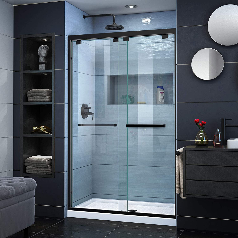 DreamLine Encore 44-48 in. W x 76 in. H Frameless Semi-Frameless Bypass Shower Door in Satin Black, SHDR-1648760-09