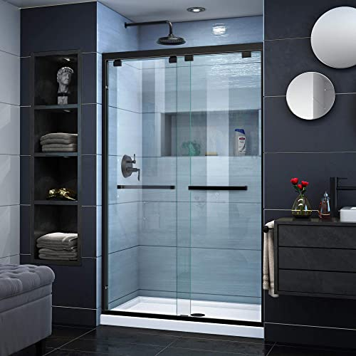 DreamLine Encore 32 in. D x 48 in. W x 78 3 4 in. H Bypass Shower Door in Satin Black and Center Drain White Base Kit, DL-7008C-09