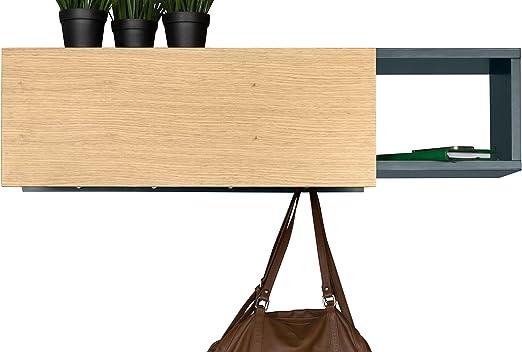 Grigio Mensola Appendiabiti Da Parete Bali Beige//Antracite TemaHome 108 x 31 x 10 cm