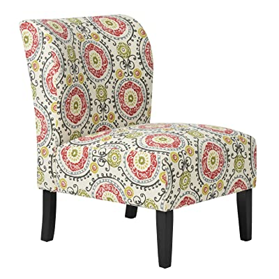Exceptionnel Multi Color Fabric Accent Chair Circle Scroll Design With Wooden Legs
