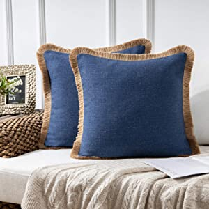 Phantoscope Pack of 2 Farmhouse Decorative Throw Pillow Covers Linen Tassel Trimmed Fall Outdoor Pillow Decor, Navy Blue, 18 x 18 inches, 45 x 45 cm