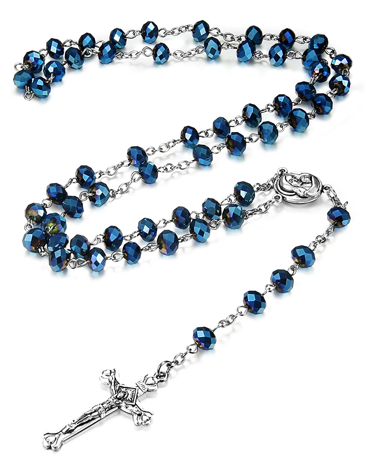 LOYALLOOK 8mm-10MM Blue Crystal Beads Catholic Rosary Necklace Crucifix Cross Pendant, 30 Inch TI0313002-10