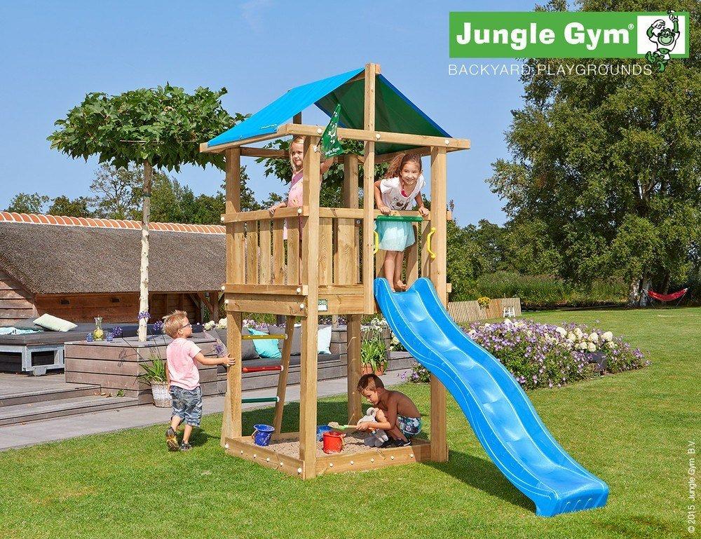Spielturm Jungle Hut - Set mit Feuerwehrstange Sandkasten Kletterturm - Jungle Gym (inkl. Holzpaket)