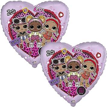 Flexmetal Pack 2 Globos LOL Surprise corazón Metalizado para Fiestas de cumpleaños, 18