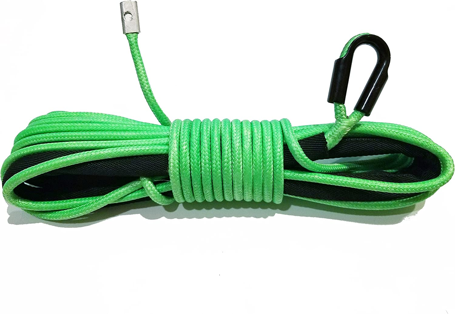 """GREEN ATV UTV Synthetic Winch Line 1//4/"""" X 50/' 7000 LBS Cable Line With Sheath"""