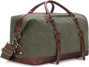 BAOSHA Canvas PU Leather Travel Tote Duffel Bag Carry on Bag Weekender Overnight Bag