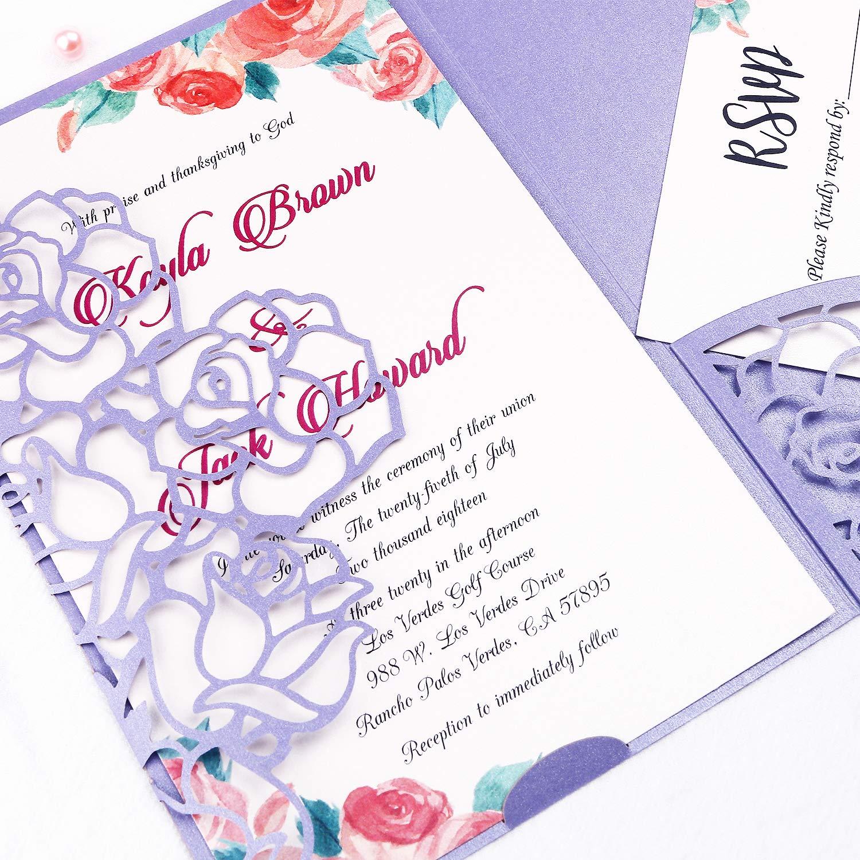 FEIYI 20 PCS 3 Folds Laser Cut Rose Shape Wedding Invitations Cards for Wedding Bridal Shower Engagement Birthday Graduation Invitation Cards (Violet)