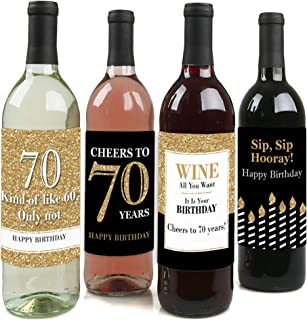 product image for Adult 70th Birthday - Gold - Birthday Party Gift for Women and Men - Wine Bottle Label Stickers - Set of 4