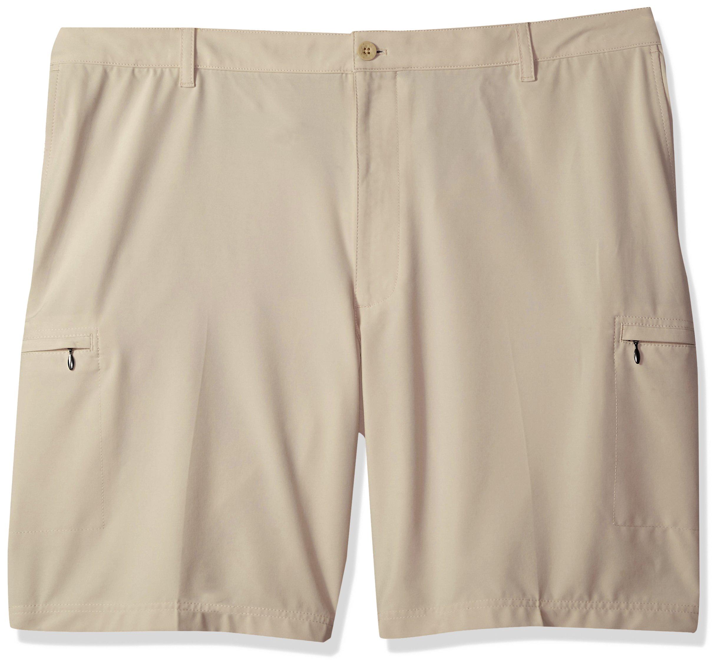 IZOD Men's Big and Tall Swing Flex Cargo Short, Peacoat/Beige, 50