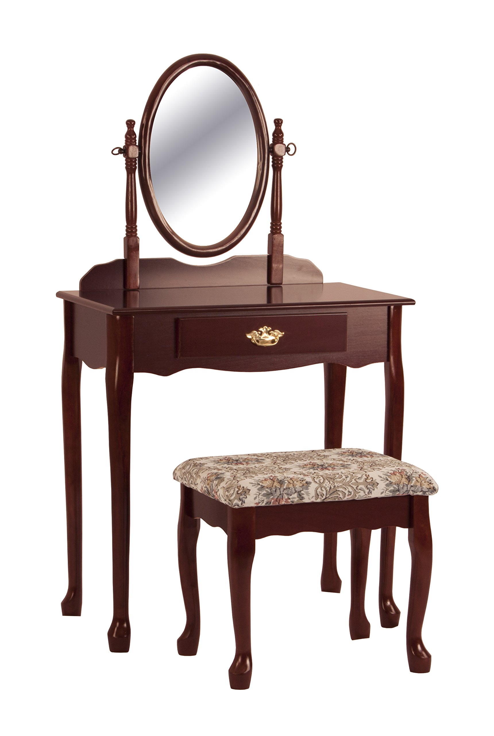 Cherry Vanity Table Set Mirror Stool Wood Bedroom