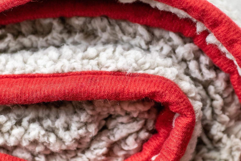 One Size Unisex Logo Brands Plain Red Trim Frosty FleeceLogo Brands Plain Red Trim Frosty Fleece Multi