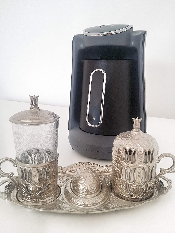 Arzum Okka Minio Automatic Turkish Greek Coffee Machine, USA 120V UL, Black Silver
