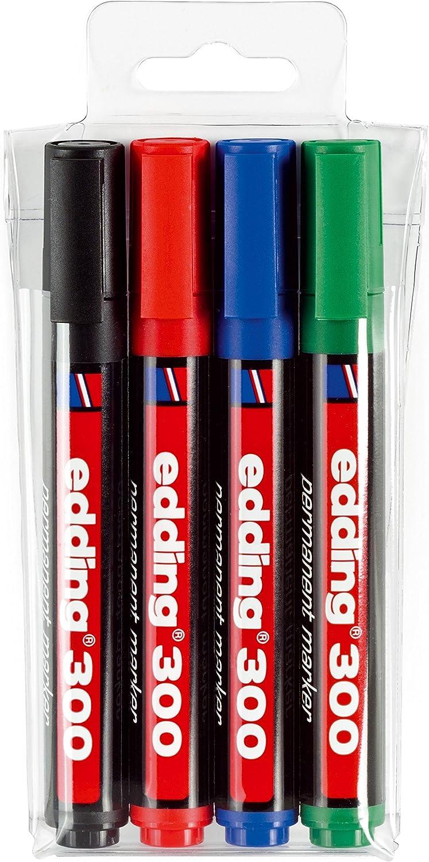 Edding 300-4-S - Estuche de 4 marcadores permanentes con punta redonda 1.5-3 mm, colores surtidos: Amazon.es: Oficina y papelería