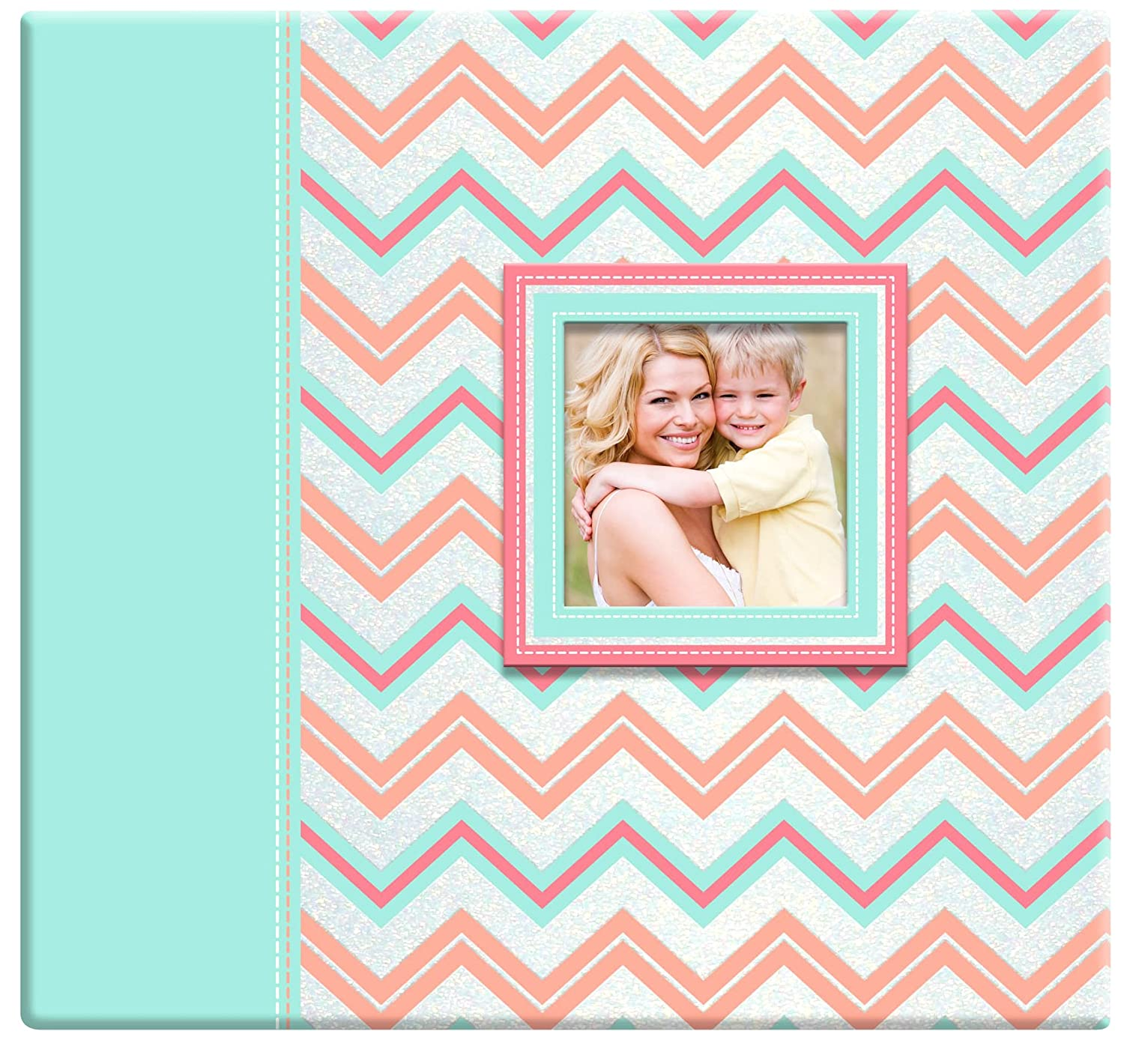 MCS 860116 Pastel Glitter Chevron Scrapbook Album with 12x12 Top Load Pages MCS Industries