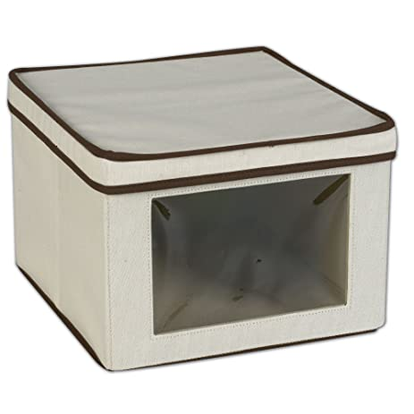 Great Household Essentials 512 Vision Storage Box   Natural Canvas With Brown  Trim   Medium