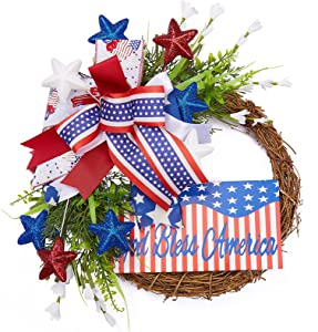Patriotic Wreath for Front Door, 4th of July Classic Rattan Wreaths Decoration, Red White Blue American Flag Bow Decor, Independence Day Wreath God Bless America Sign, Outdoor Indoor Porch Wall Decor