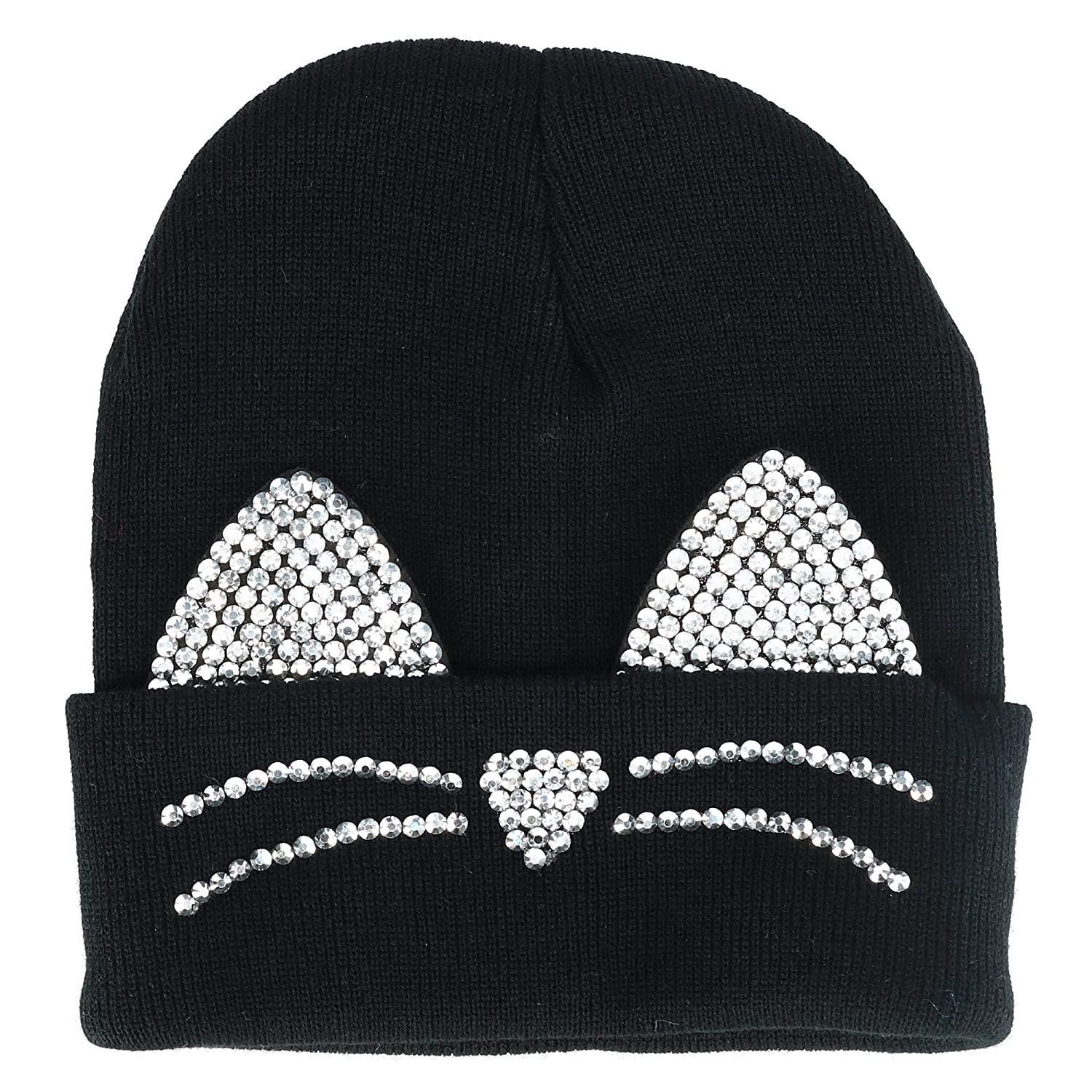 64fc4d187dd David   Young Women s Knit Cat Beanie Hat with Bling Ears