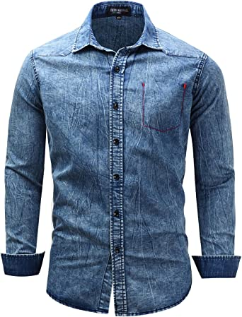 Mens Button Down Shirt Casual Slim Fit Long Sleeve Denim Shirt