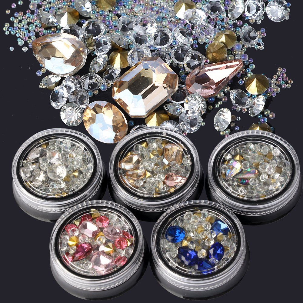 BlueZOO Mixed Nail Art Rhinestones Diamonds Crystals Metal Studs Beads Décor Accessories Decorations Gems for DIY Décor Pack of 5