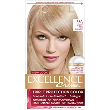Amazon Com L Oreal Paris Excellence Creme Permanent Hair Color 9a Light Ash Blonde 100 Percent Gray Coverage Hair Dye Pack Of 1 Chemical Hair Dyes Beauty