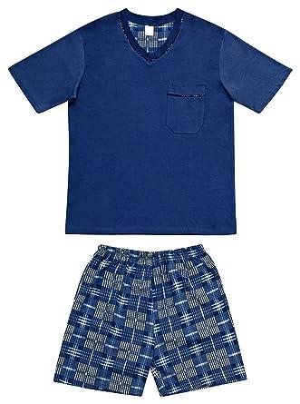 AdoniaMode Herren Shorty Baumwolle Pyjama Schlafanzug Nachtwäsche T-Shirt  und Hose Kurz-Arm V 34c2eace9c