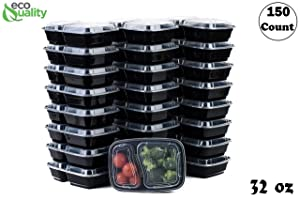 EcoQuality Meal Prep Containers, [150Pack][32oz] 2 Compartment with Lids, Reusable Bento Box, Food Storage Containers | BPA Free | Stackable | Lunch Boxes, Microwave/Dishwasher/Freezer Safe,21 day fix