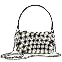 Crystal Rhinestone Crossbody Bags for Women Bling Purse Mini Top Handle Handbag Chain Mesh Clutch for Party