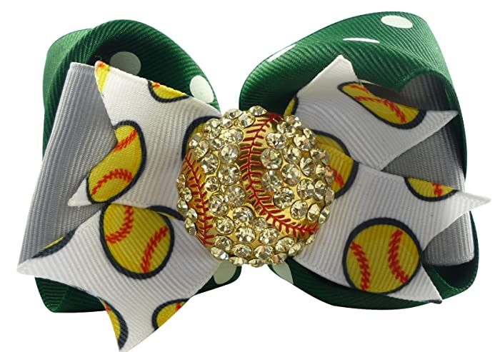 9a8fe0e8c131a6 Amazon.com  Girls Softball Hair Bow with Rhinestone Bling  Handmade
