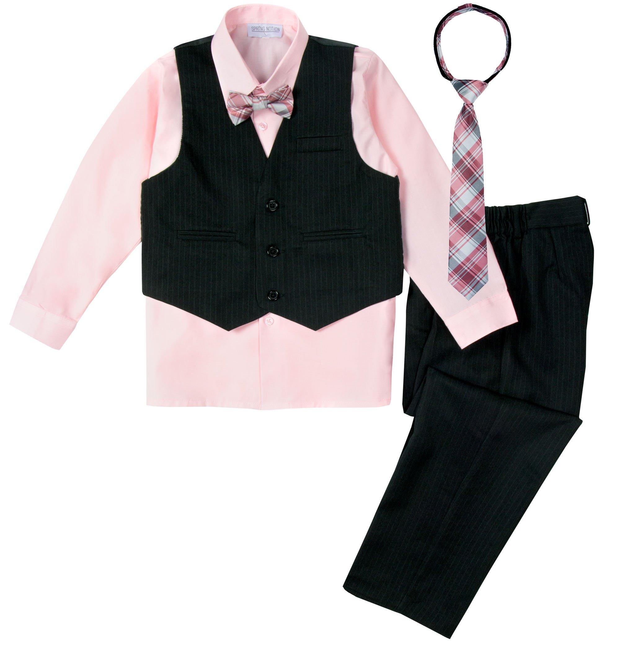 Spring Notion Big Boys' 5 Piece Pinstripe Vest Set Black-Pink-B 12