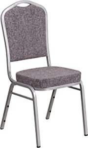 Flash Furniture HERCULES Series Crown Back Stacking Banquet Chair in Herringbone Fabric - Silver Frame