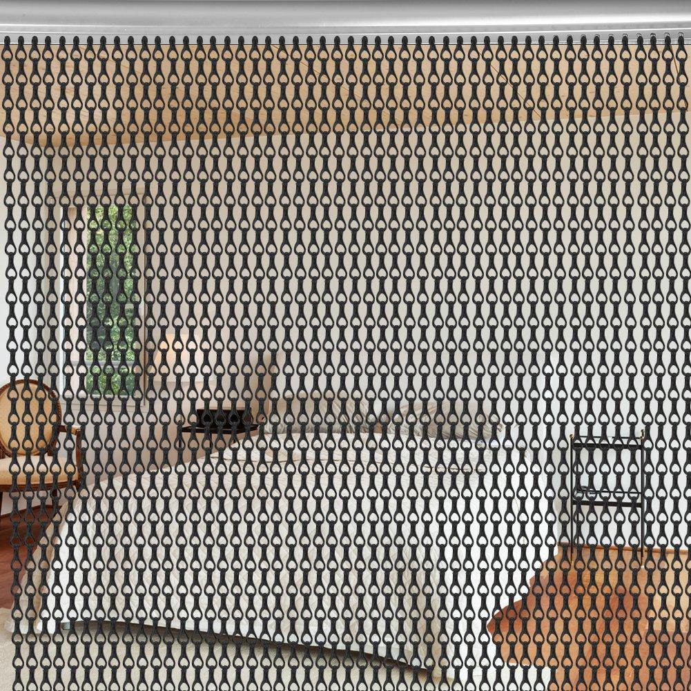 Aluminium Metallkette Vorhang Schädlingsbekämpfung Ketten Vorhang Türvorhang Sichtschutz  Insektenschutz 90 x 214,5cm (Schwarz)