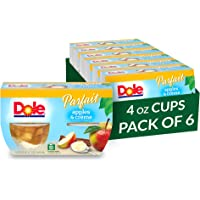 Dole Fruit Bowls, Apples and Creme Parfait, 4 Count, 4.3 Ounce Cups (Pack of 6) - 24 Total Cups