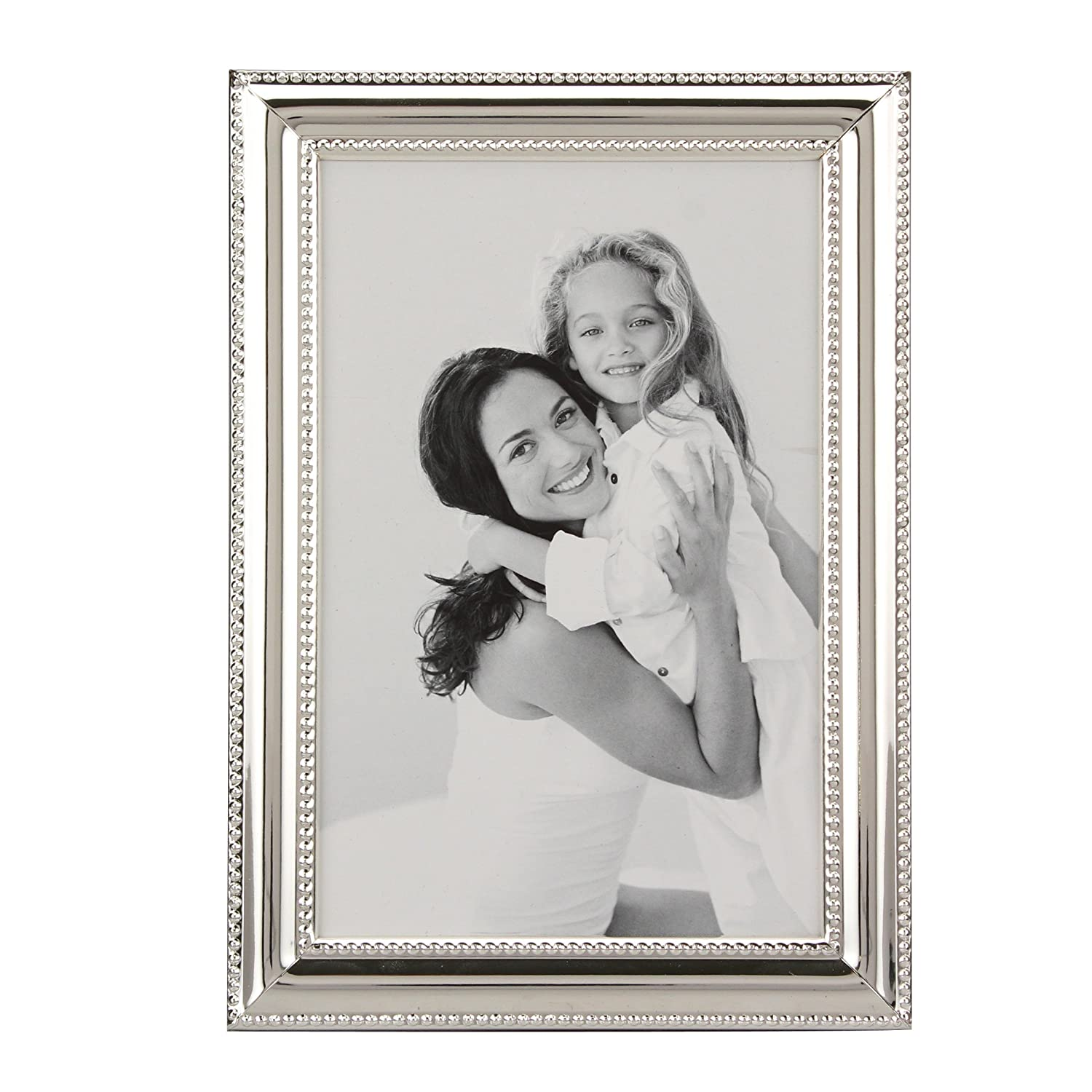 Stonebriar Decorative Silver Metal Photo Frame with Textured Border and Easel Back Stand, Elegant Wedding Picture Frame, Gift Idea for Engagements, Birthdays, and Anniversaries, 4x6 CKK Home Décor SB-J32146
