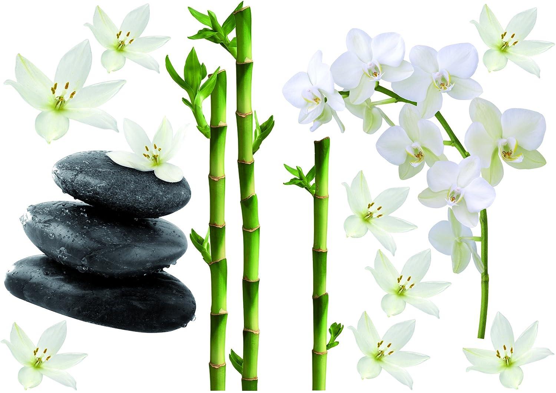 Décoration adhésive 157170 Bambous/Orchidées et Galets, Polyvinyle, Multicolore, 21 x 0,1 x 29,6 cm