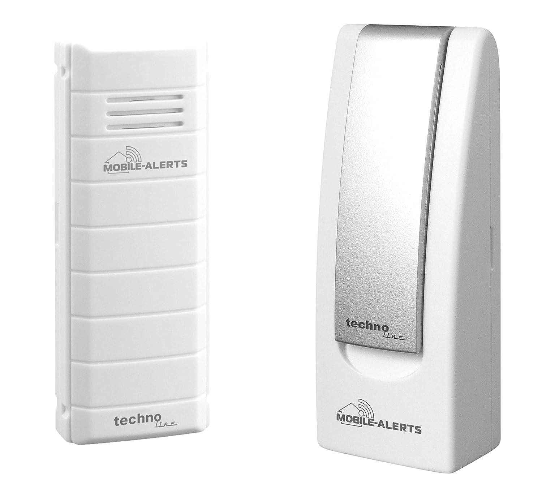Mobile Alerts MA 10001 Starter Set Hausüberwachungssystem,2-teilig, inklusive Gateway und Temperatursender MA 10100 (mit Alexa kompatibel) zur Temperaturüberwachung mit Meldung auf das Smartphone weiß, 4 x 2,5 x 10,3 cm Technoline