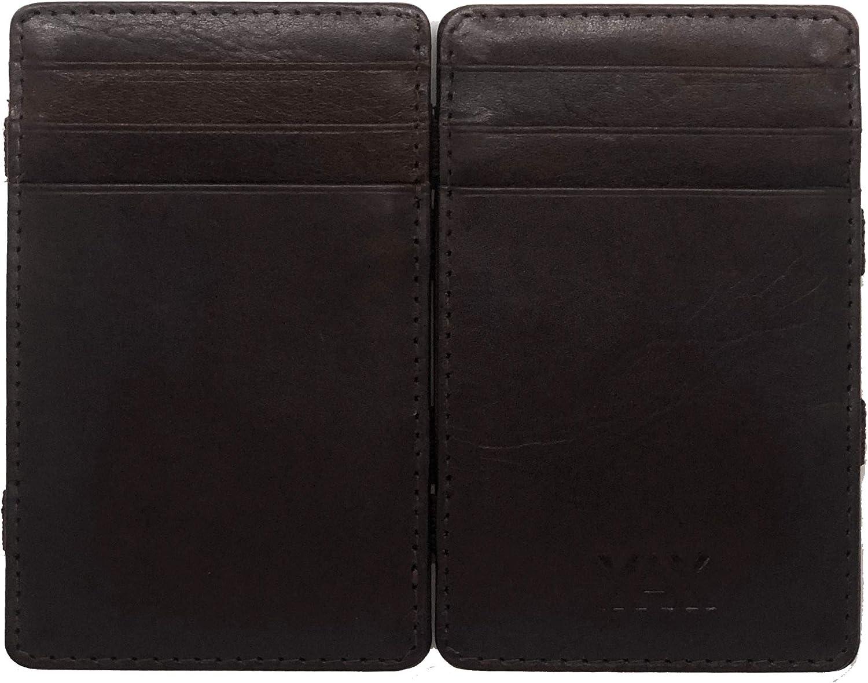XAX RFID Blocking Thin Minimalist Magic Wallet, Vegetable Tan Leather