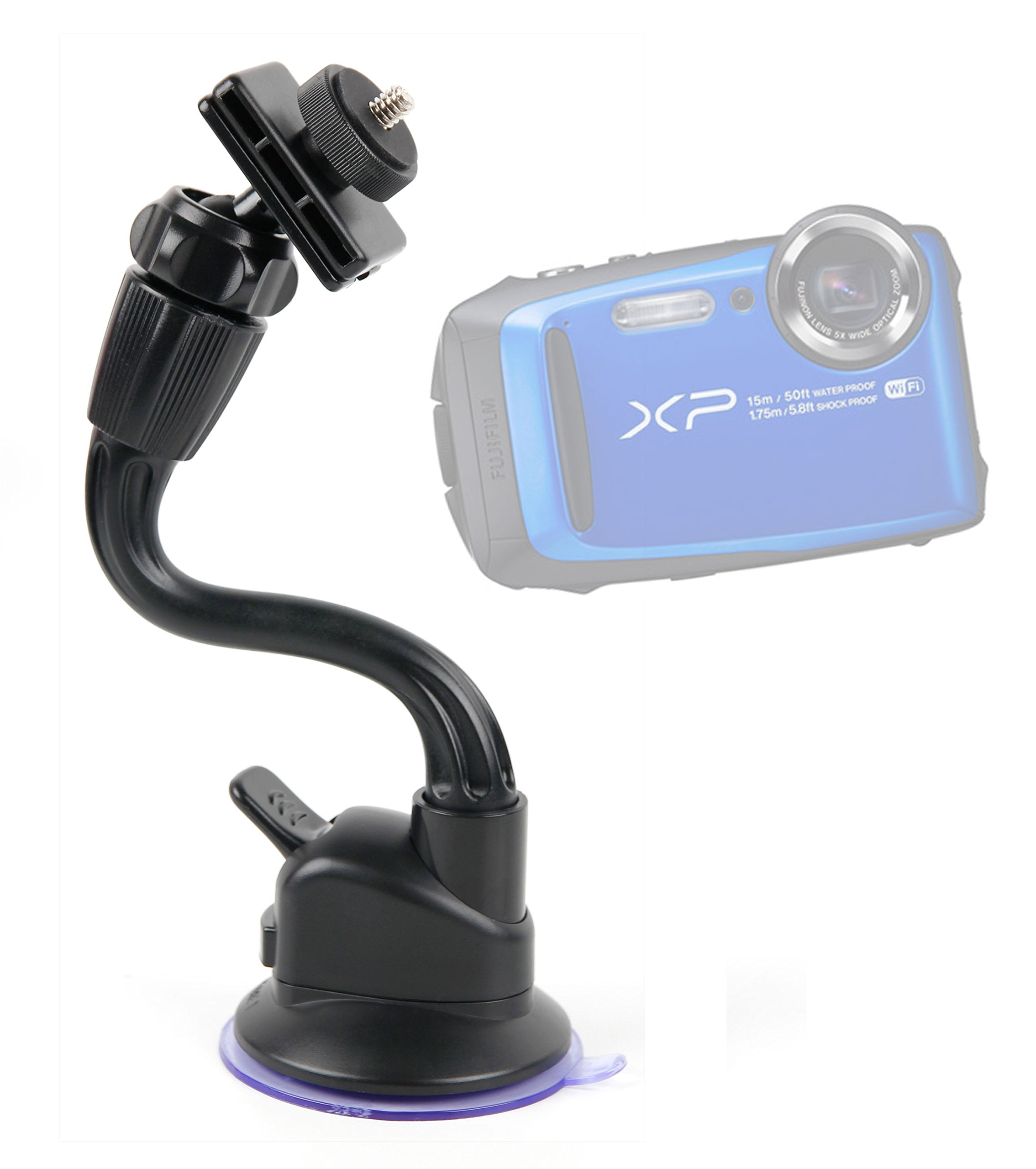 DURAGADGET in Car Anti-Shake Flexible Arm Camera Suction Mount - Compatible with The New Fujifilm FinePix XP90   X-E2S Cameras