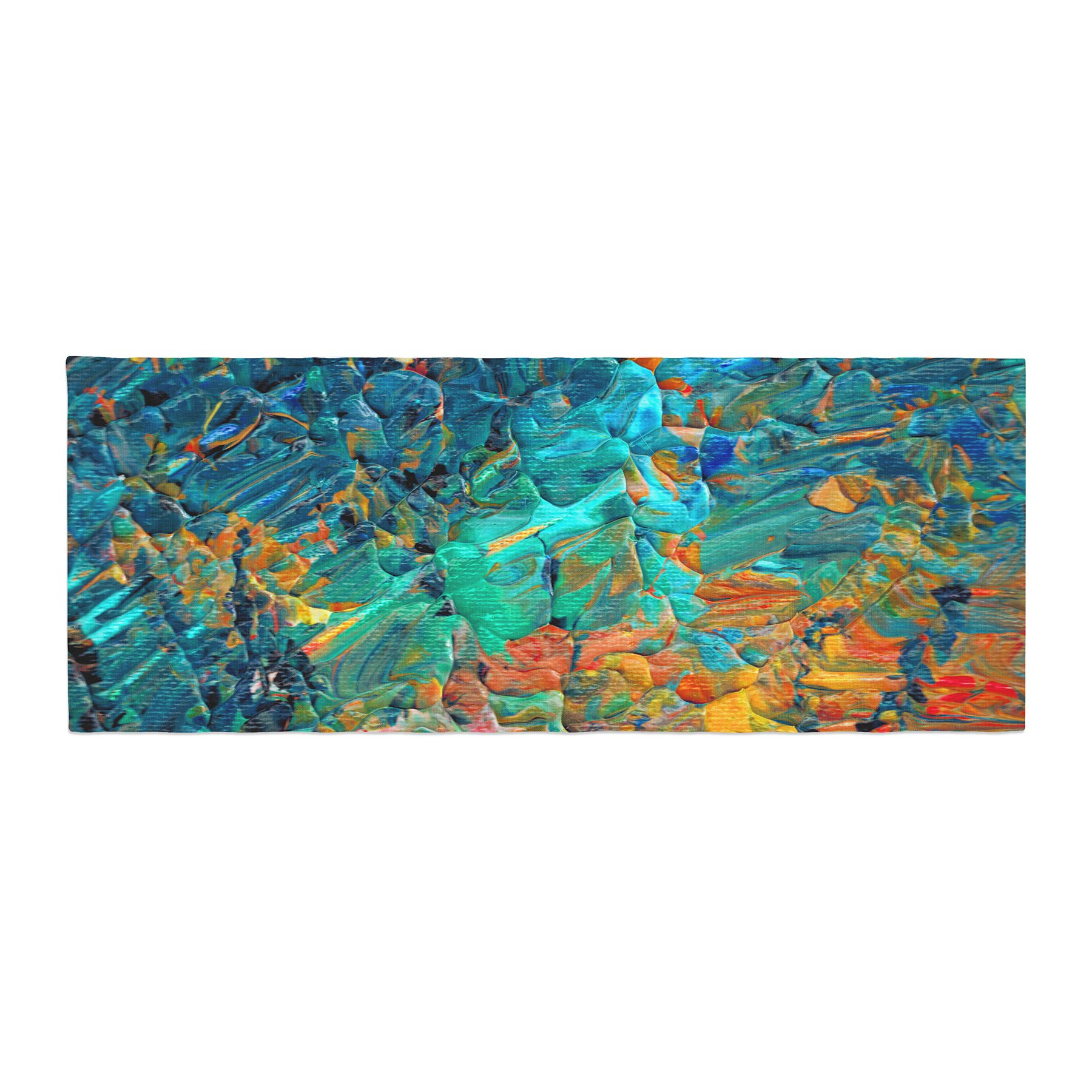 Kess InHouse Ebi Emporium Eteranl Tide II Teal Orange Bed Runner, 34'' x 86''