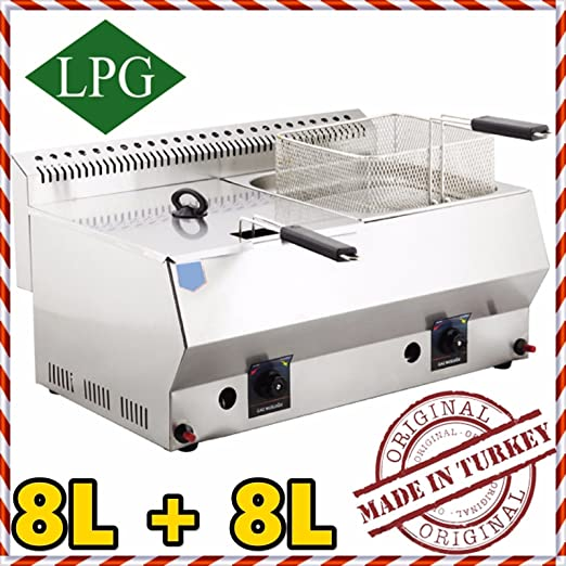 h:13.78 PROPANE GAS Commercial industrial Catering Restaurant 5 LT W:10.43 L:20.87 Capacity Stainless Steel Commercial Countertop Propan LPG Deep Fryer with Basket and Lid INCLUDED