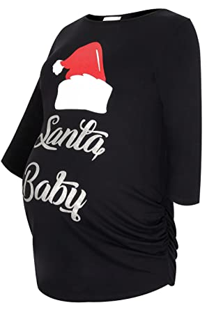 c68cc8274cd Women s Plus Size Bump It Up Maternity Santa Baby Slogan Print Christmas  Top Size 16 Black
