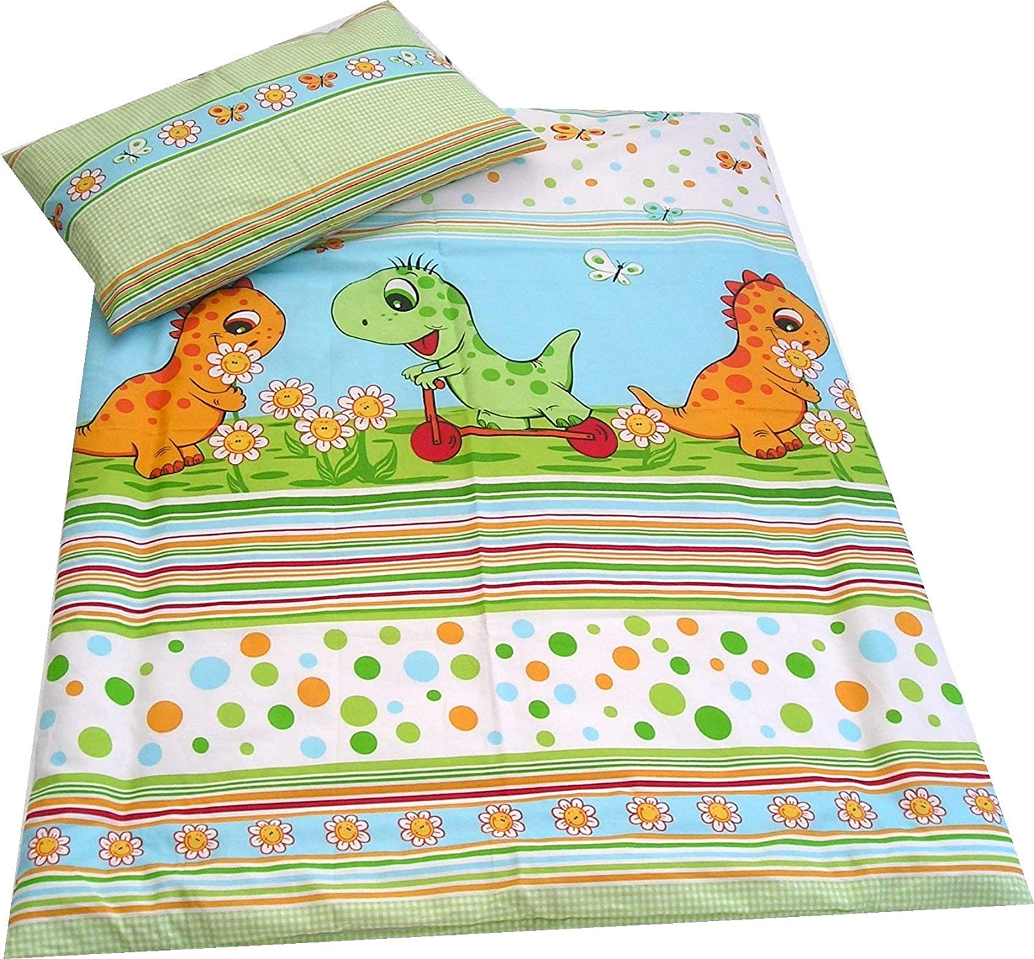 babies-island Children's Bedding set GREEN DINOSAURS Duvet Cover and Pillowcase/CURTAINS Cot (90x120 cm)
