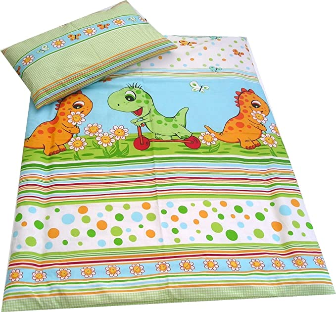 Dinosaurs Nursery Bedding Set Duvet Cover 100x135 cm Pillowcase to fit Cot//Cot Bed//Toddler Bed Girls Boys 100/% Cotton