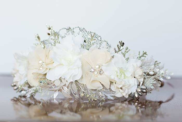 Amazon.com: Ivory And Silver Flower Crown - Photography Prop - Wire ...