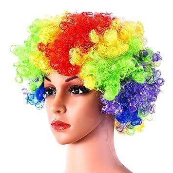 Hicarer Peluca Afro de Acro Iris Peluca Rizada de Multicolor Peluca de Disfraz de Halloween para