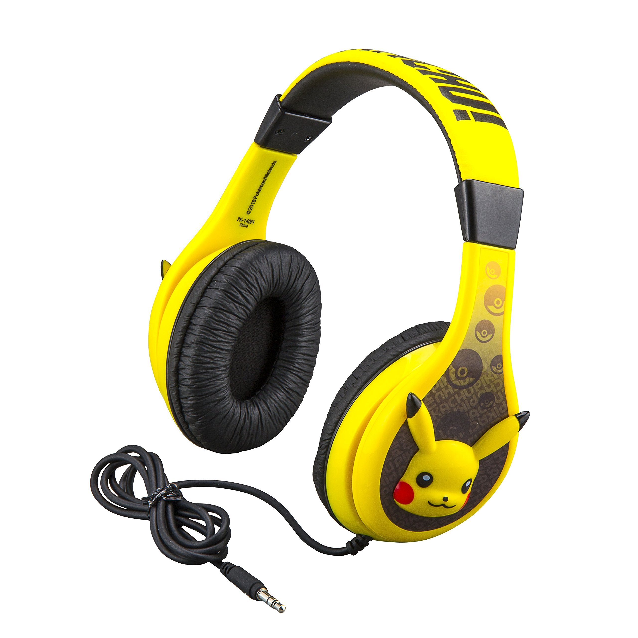 Pokemon Pikachu Headphones for Kids with Built in Volume Limiting Feature for Kid Friendly Safe Listening