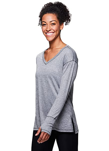 e366271606a RBX Active Women s Long Sleeve Striped 2-fer Back Top at Amazon Women s  Clothing store