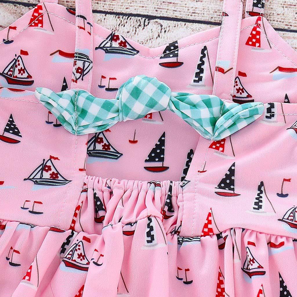 Kirbyates Toddler Kids Girl Cartoon Print Two-Piece Swimwear Split Sling Swimsuit Bathing Suit Clothes Set