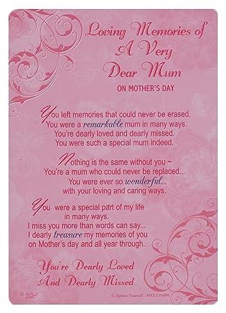 Loving Memory Mothers Day Graveside Memorial Card Holder 575 X 4