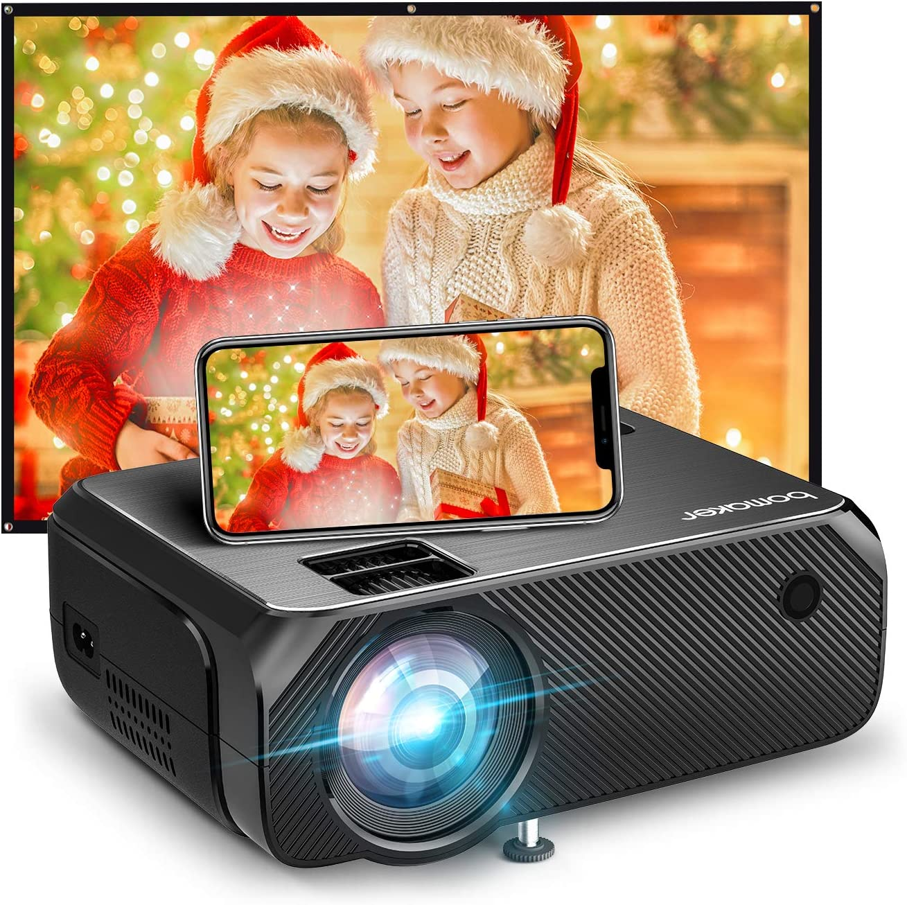 Bomaker Wi-Fi Mini Projector, Portable Projector for Outdoor Movies, Outdoor Movie Projector, Wireless Mirroring, for iPhone/Android/PCs/Laptops/DVD Player/Windows